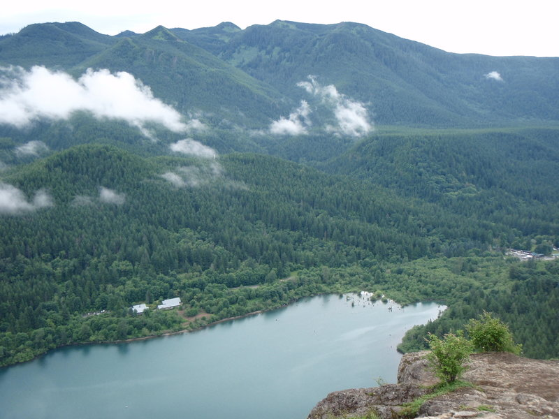 The view from Rattlesnake Ledge looking down on Rattlesnake Lake and the Cedar River Watershed Education Center.
