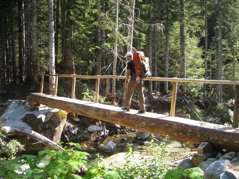 New footbridge over the creek.