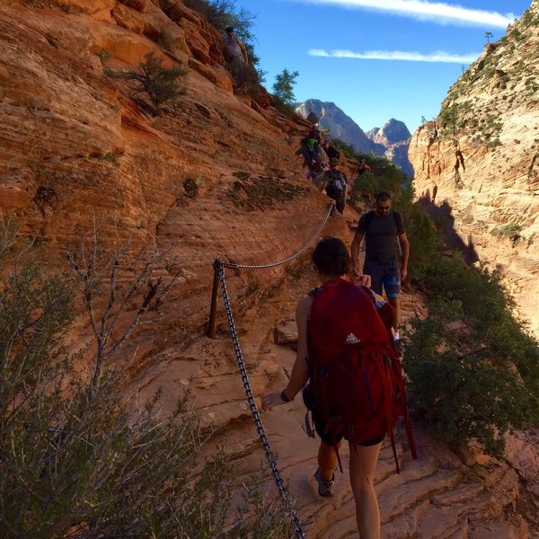 Heading up to Angels Landing Zion NP - Labor Day 2016.