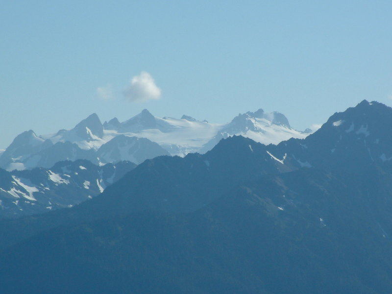 The view of Mount Olympus from Hurricane Ridge Visitor Center.