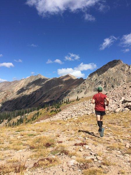 Running towards Kelly Lake.