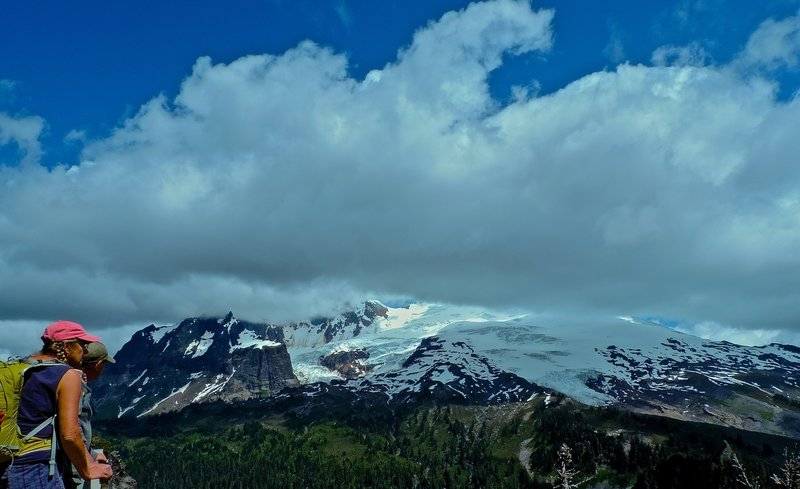 Clouds lifting slightly, on Mt Baker.