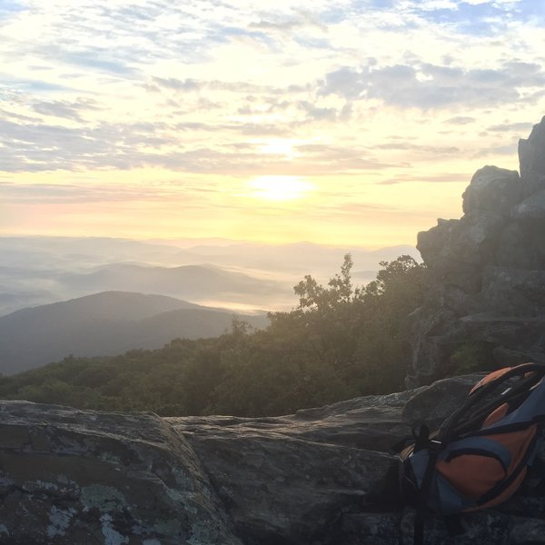 Late summer sunrise at Humpback Rocks summit.
