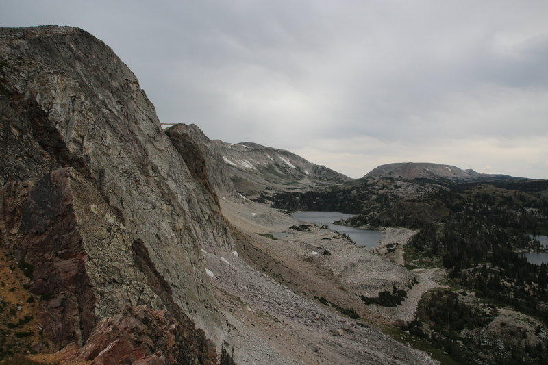 A lookout with views north towards Medicine Bow Peak and Lookout Lake.