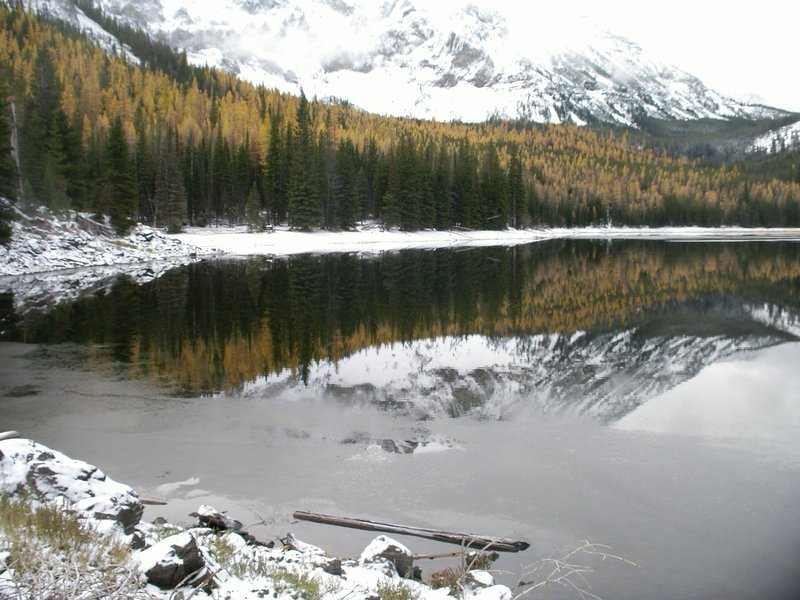 Snow Capped peaks reflecting in Strawberry Lake.