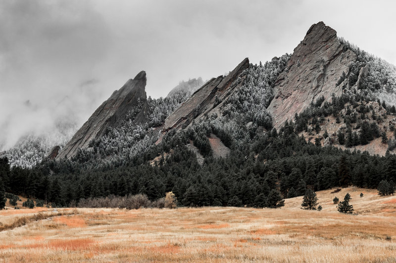 First snow of the year in the Flatirons.