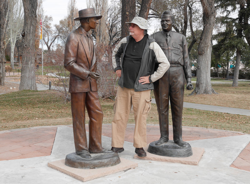 Dr. Robert Oppenheimer and General Leslie Graves with consultant Jay Galvin.