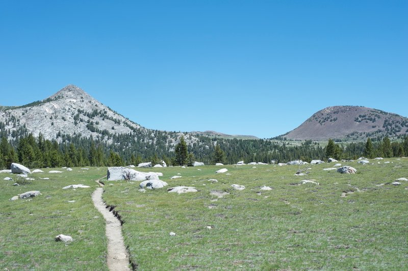 The trail approaches Lower Gaylor Lake, with Mount Gaylor sitting on the right in the distance.