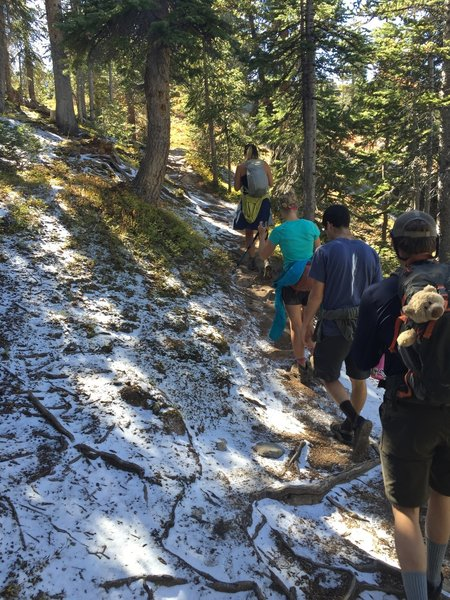 Heading up the Windsor Lake Trail with some fresh snow from an early (mid-September) storm.