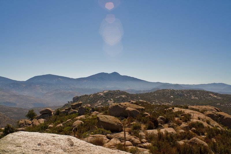 View of Middle Peak, Cuyamaca Peak and Mount Gower from the false Mount Gower with permission from 100peaks 100peaks.com