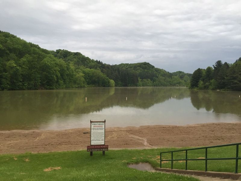 Strouds Run State Park beach on a rainy May morning of race day for Thunderbunny 50k.