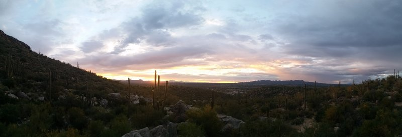 Sunset from the top of the hill on Linda Vista Loop Trail.