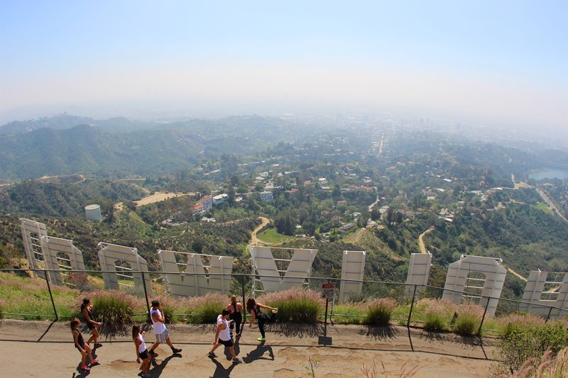 Top of Mount Lee and the iconic landmark of the Hollywood Sign.