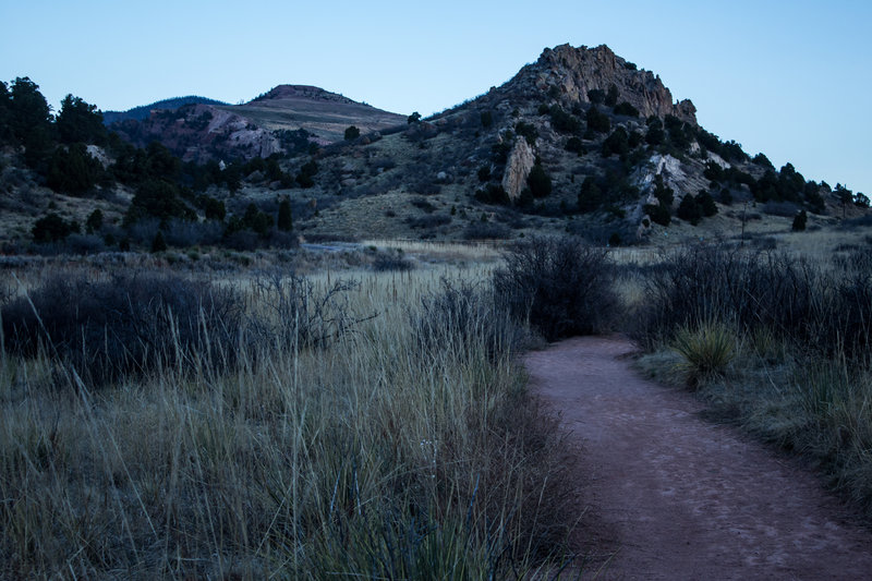 Looking down the trail at the Dakota Hogback.
