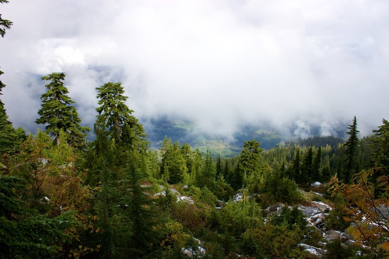 A layer of fog shrouding the views below Mount Pilchuck.