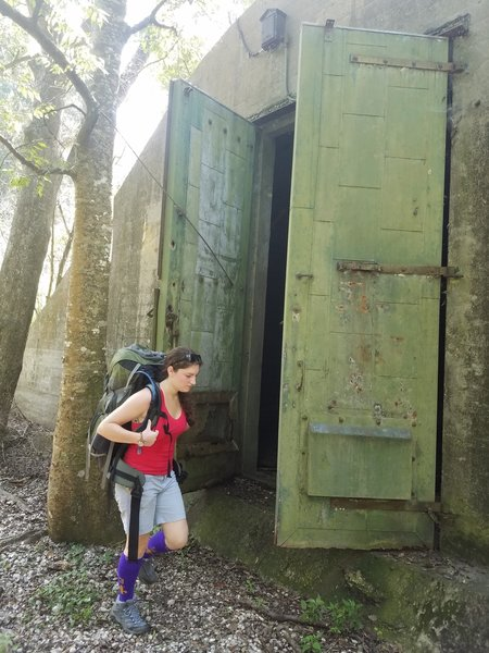 Exploring the WWII Naval munitions bunkers with my fiancee.