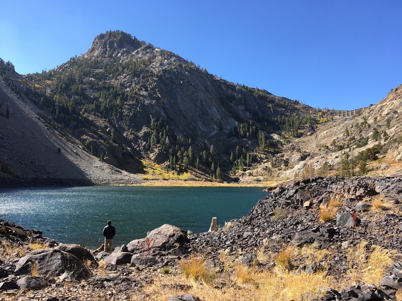 This is Agnew Lake, 8,500 feet. On the right you can see a dam that is the edge of Gem Lake.