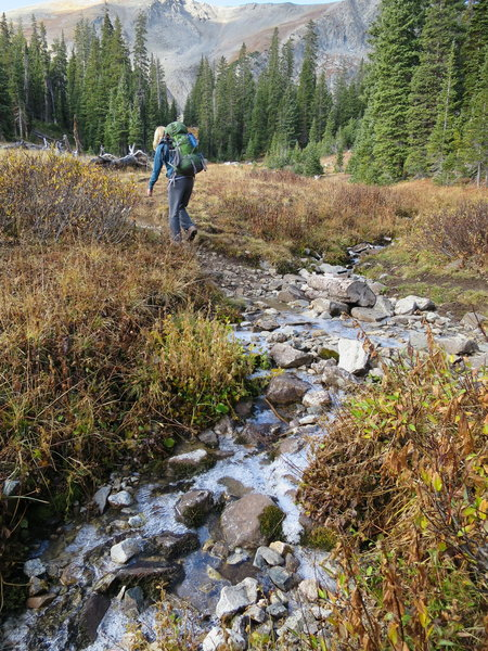Last crossing of Miners Creek (layer of ice  - October 2).