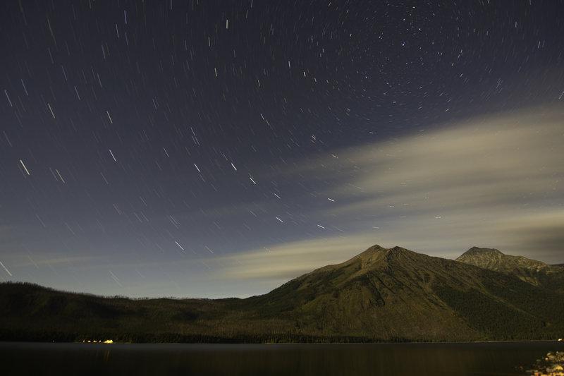 Star trails over Lake McDonald in Glacier National Park, Montana.