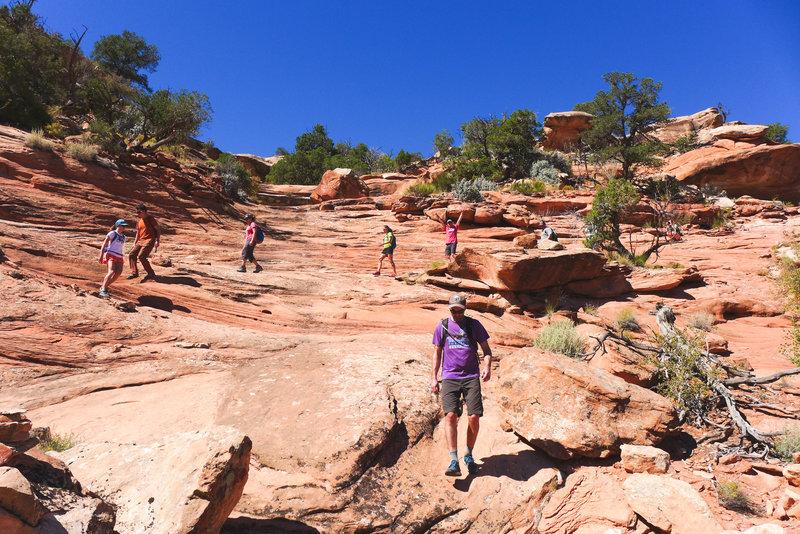 Descending the canyon to access the ruins.