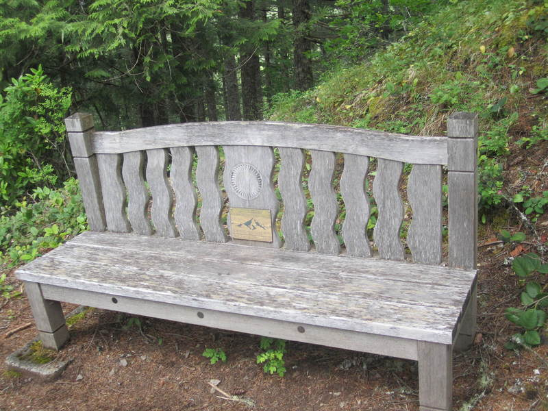 Memorial bench for Kathi Beck, Prineville Hotshot firefighter killed on Storm King, Colorado in 1994.  Photo by Josh Baker.