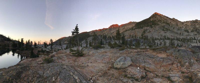 Sunset on granite mountains.