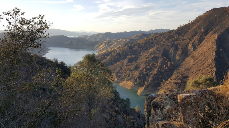 Lake Berryessa near sunset, seen from where the Blue Ridge Trail first reaches its namesake ridge.