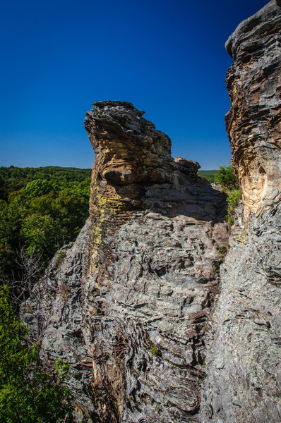 Some of the bizarrely shaped rock cliffs visible from the Garden of the Gods observation trail.