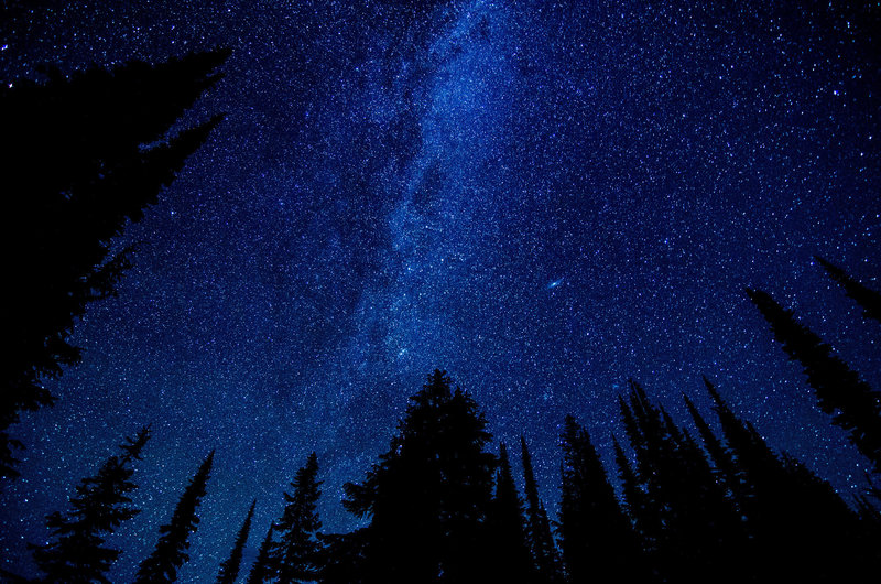 Crystal clear view of the night sky from the campsite upon Cady Ridge.
