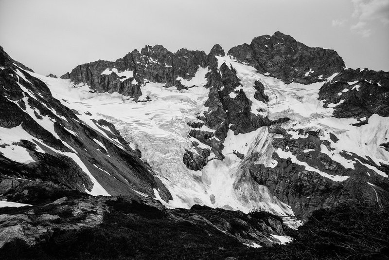 Mt. Formidable and the Middle Cascade Glacier seen from the Ptarmigan Traverse.