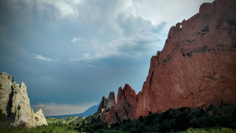 Stormy skies cast shadows over Garden of the Gods.