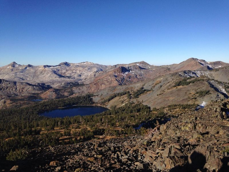 View from Mount Tallac Summit, early October after sunrise.