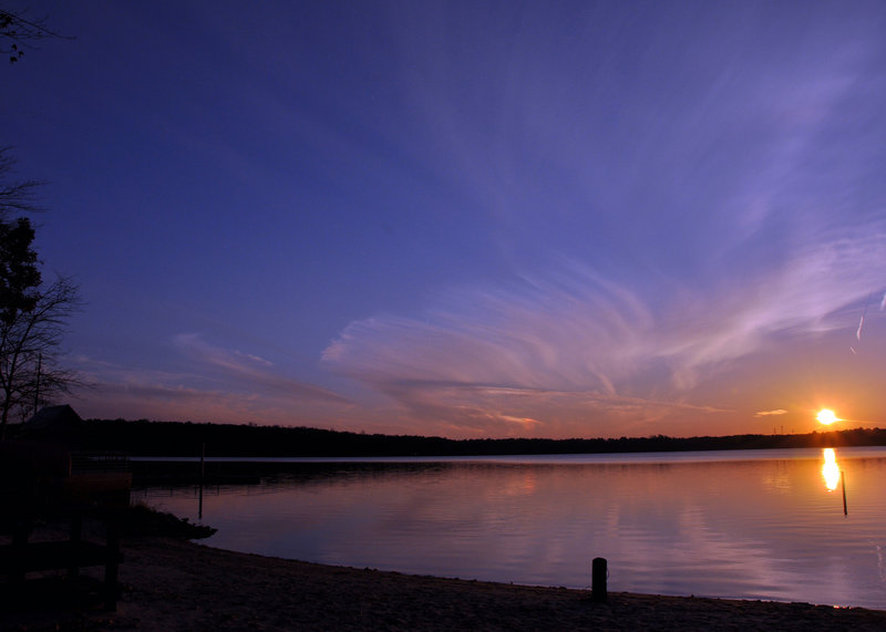 A sunset and sundog over Lake Crabtree.