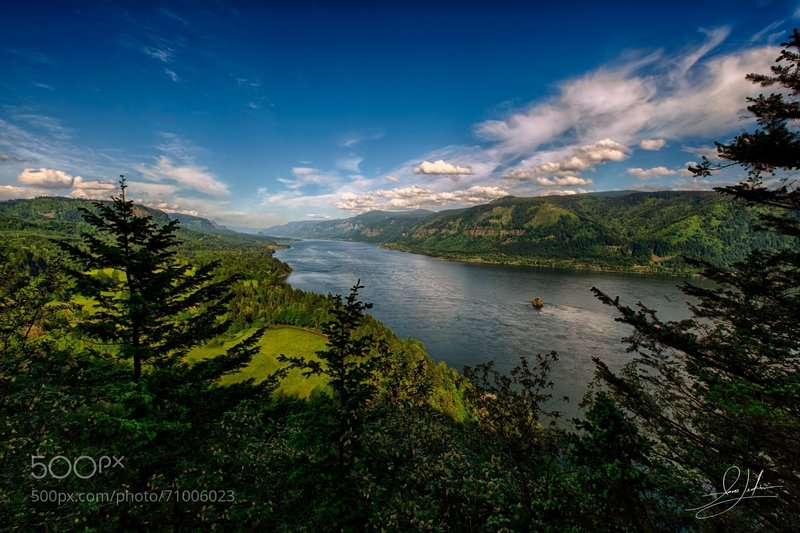 The Columbia River Gorge in the spring.