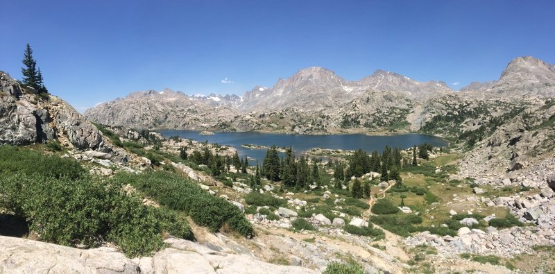 A nice place to stop before descending to Island Lake with a view into Titcomb Basin.