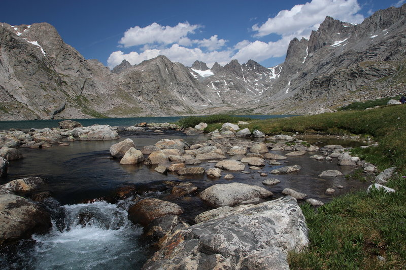 View toward the head of Titcomb Basin from the outlet of upper Titcomb Lake.