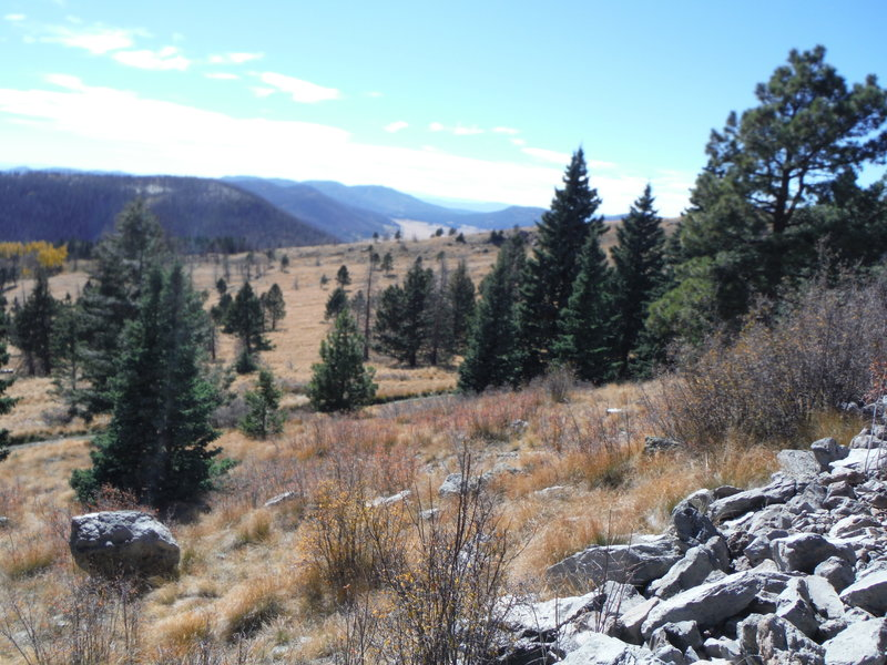 View of the Valles Caldera National Preserve to the west of Pajarito Mountain.