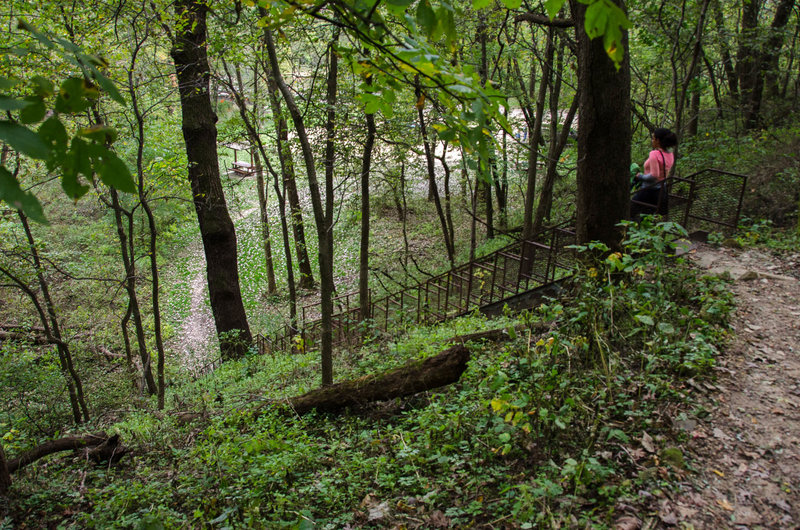 Stairs up the bluff of the Julian Dubuque Trail.