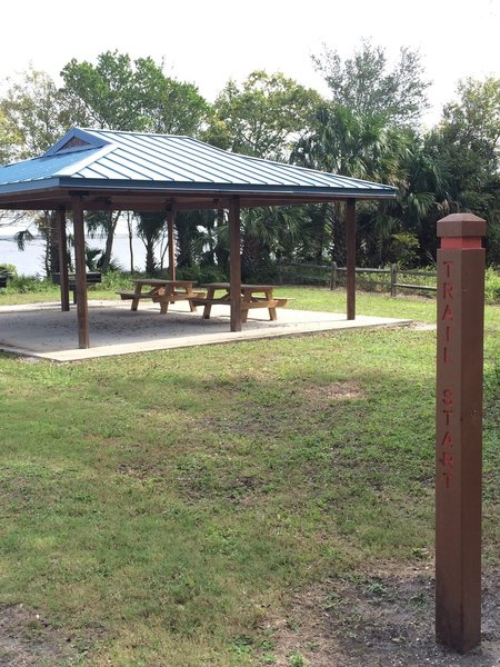 Covered picnic area at the trail start.