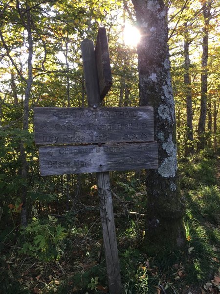 If you need to stay in Silers Bald Shelter, go west for 0.6 miles at this sign.