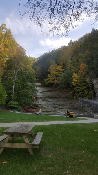View of Buttermilk Falls at the start of the trail.