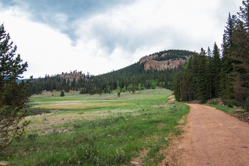 A look up the valley on the dirt road or Bugling Elk Trail.