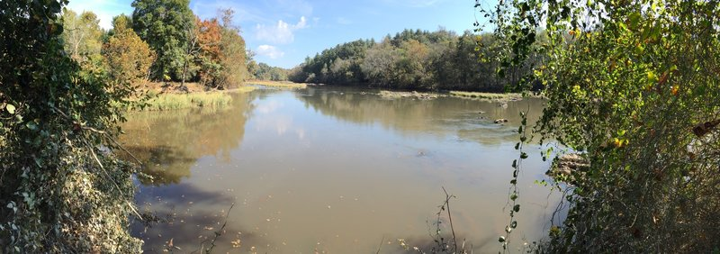 Panorama shot of Rocky River and Deep River confluence.