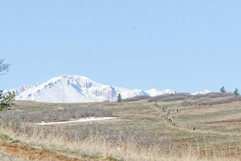 Pikes Peak dominates the view at the Greenland Trail Races.