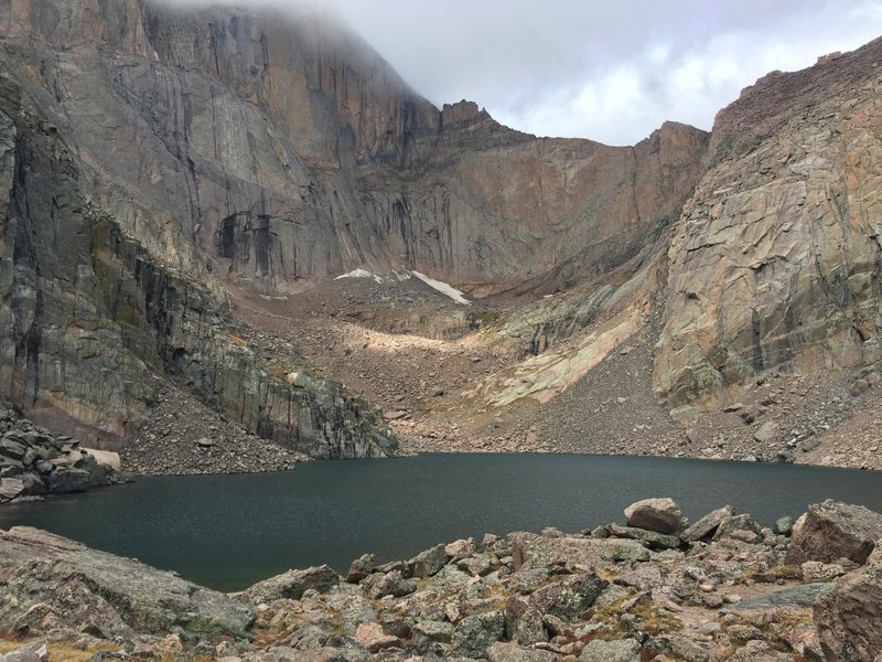 Misty, cold, and magical at Chasm Lake, Labor Day weekend.