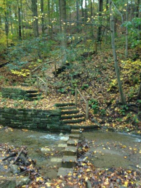 A fall look at the trailhead for the Trillium Trail Upper Trail.