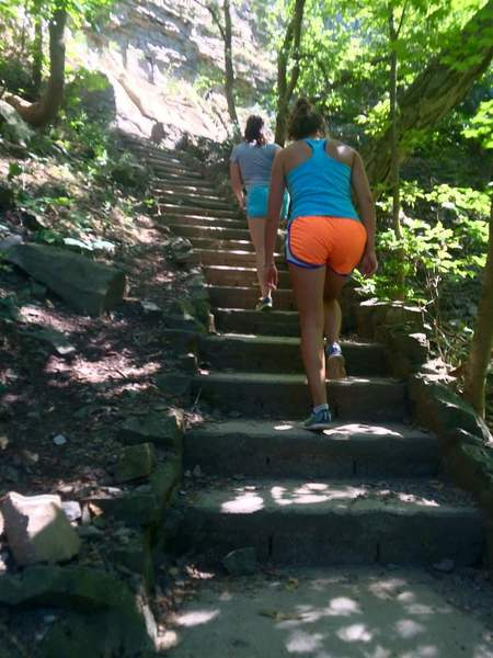 The many stairs on the way out of the Niagara Gorge on the way to Devil's Hole trailhead.