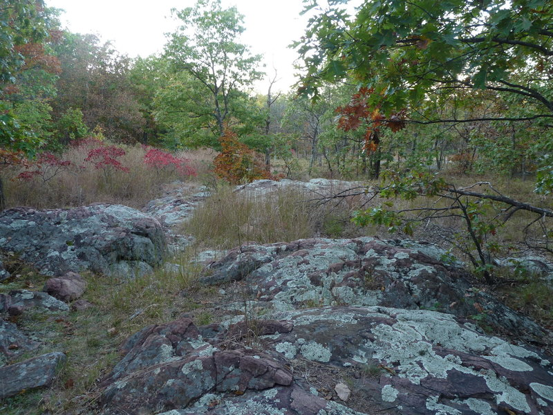 Some of the rocky terrain just off the Taum Sauk portion of the Ozark Trail.