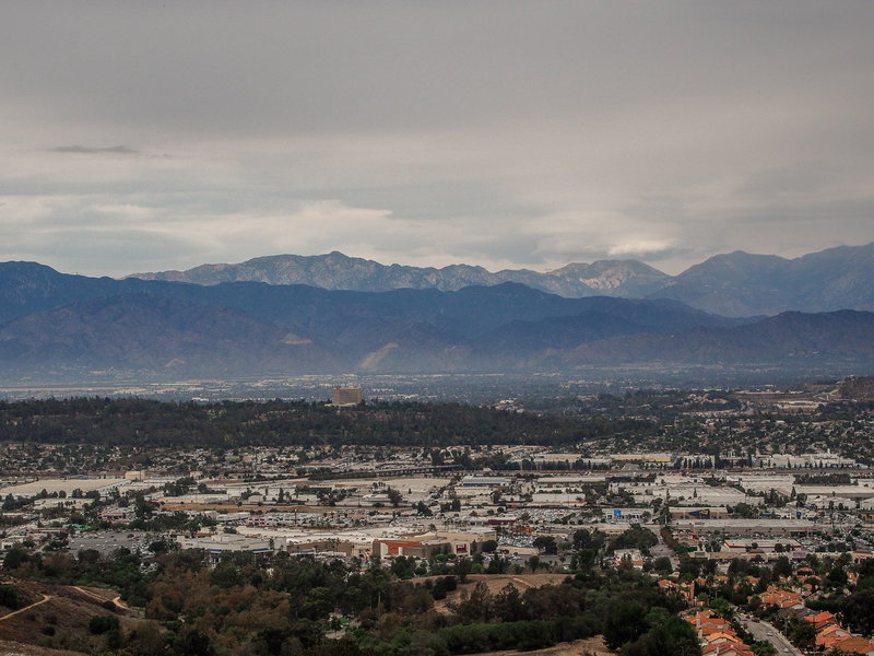 Facing the San Gabriel Mountains.