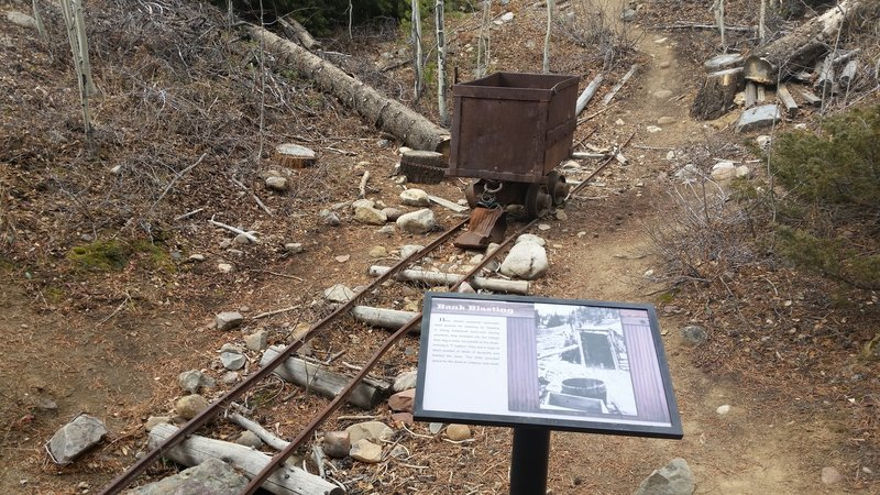 Interpretive sign and rail car.